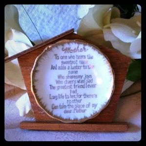 Vintage Ceramic Mother Poem Saucer on Stand